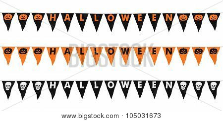 High Resolution Halloween Bunting Lines Isolated On White