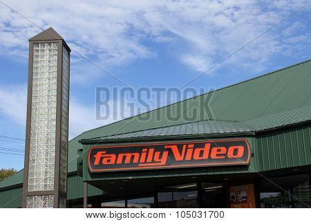 Family Video Sign On A Storefront