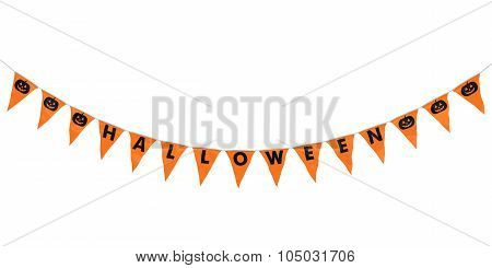 Orange And Black Halloween Pumpkins Hanging Bunting Curve Isolated On White