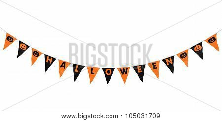 Orange And Black Halloween Hanging Bunting Curve Isolated On White