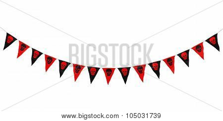 Red And Black Skulls Hanging Bunting Curve Isolated On White
