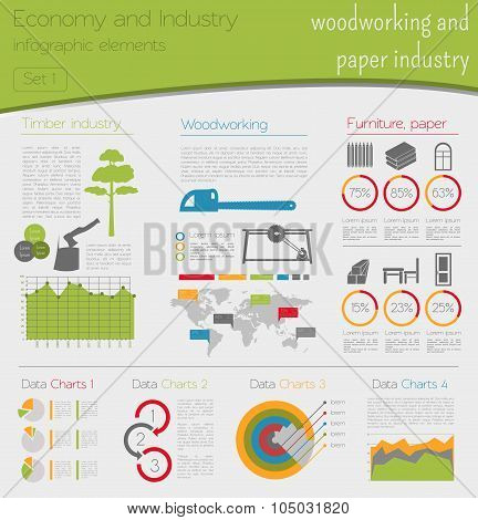 Economy and industry. Woodworking and paper industry. Industrial infographic template