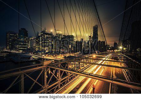 View Of Brooklyn Bridge At Night