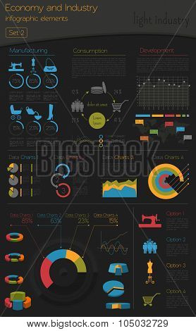Economy and industry. Light industry. Industrial infographic template