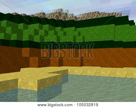 Pixel Square Landscape With Water, Sand, Dirt, Grass And Rocky Area