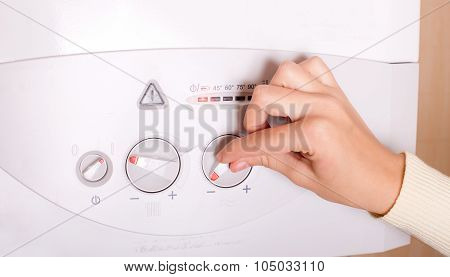 Hand On Gas Boiler