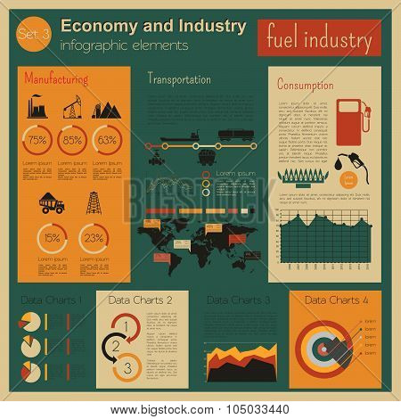 Economy and industry. Fuel industry. Industrial infographic template
