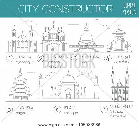 Big set City generator. House constructor. Religious buildings. Outline minimal icon version
