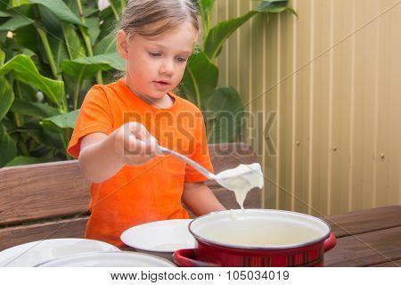 Girl At Breakfast Porridge Scoop Ladle