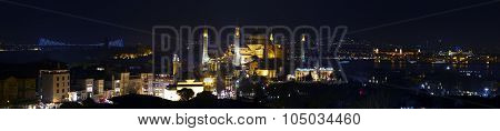 Super wide angle panorama of Istanbul old city district at nightlight illumination