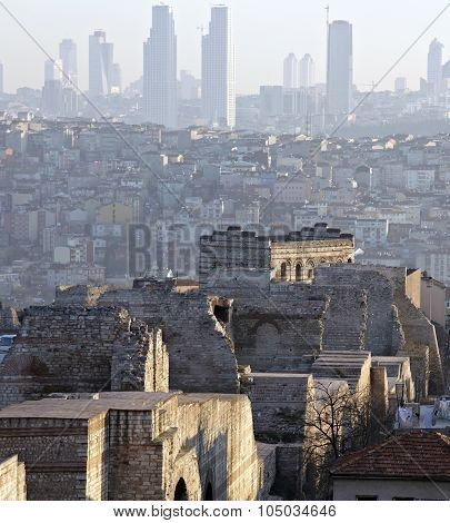 History meets nowadays Ancient ruins of Theodora Byzantine Wall in Istanbul