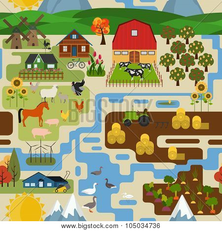 Great city map creator. Village, farm, countryside, agriculture. Make your perfect city.