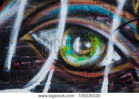 MONTREAL, CANADA - AUGUST 20th 2014: Graffiti detail of a female eye. Montreal is well know for street art and graffiti.