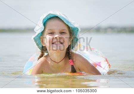 Four-year Girl Bathes In The River