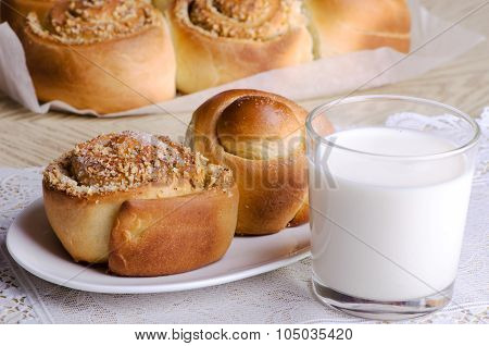 Homemade Buns With A Glass Of Milk