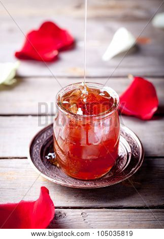 Rose petals jam, confiture in a glass jar