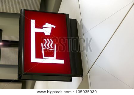 Water Dispenser Sign Lightbox In The Airport