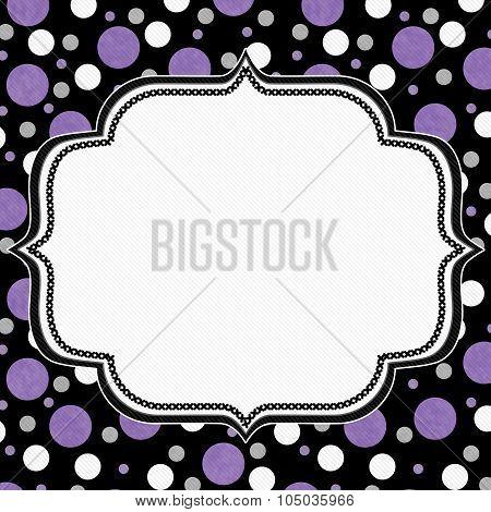Purple, White And Black Polka Dot Frame Background