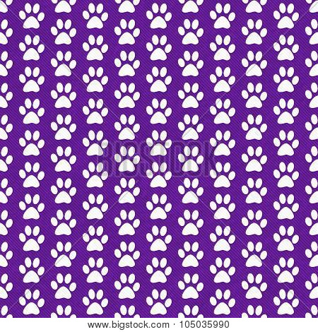 Purple And White Dog Paw Prints Tile Pattern Repeat Background