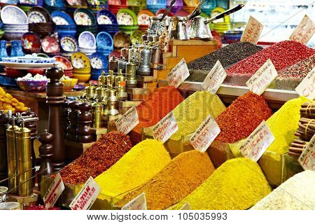 Eastern bazaar - spices, coffee Turks and hand mills