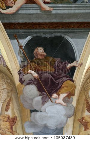 LJUBLJANA, SLOVENIA - JUNE 30: Saint James the Apostle, fresco on the ceiling  of the Cathedral of St Nicholas in the capital city of Ljubljana, Slovenia on June 30, 2015