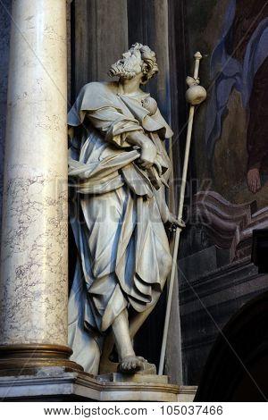 LJUBLJANA, SLOVENIA - JUNE 30: Saint Roch statue on the altar in the St Nicholas Cathedral in Ljubljana, Slovenia on June 30, 2015