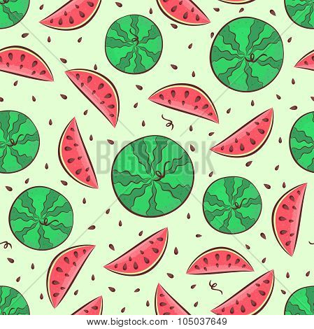 Watermelon seamless pattern with whole watermelon, slices and seeds