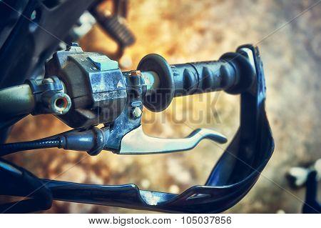 Close Up Of Handlebar Motorcycle