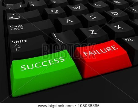 Success And Failure Computer Keys Background