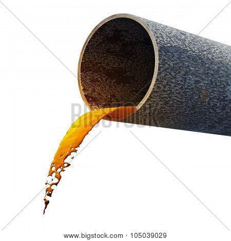 Dirty Water Stems From The Rusty Pipe