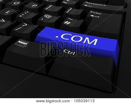 Blue .com Key Keyboard Background