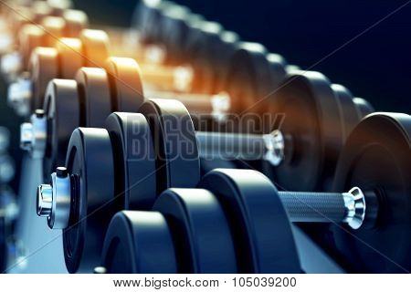 Row Of Metal Dumbells