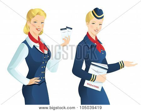 Beautiful blonde air hostess