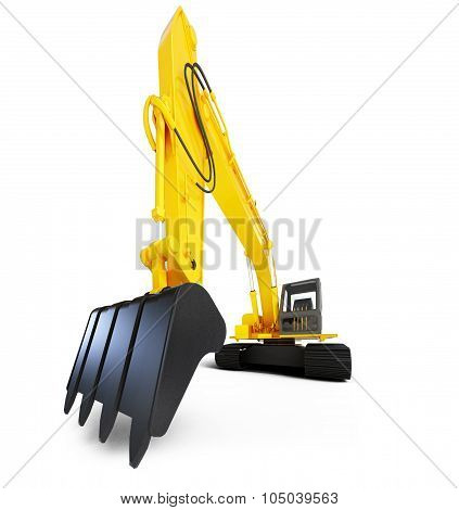 heavy orange excavator with shovel