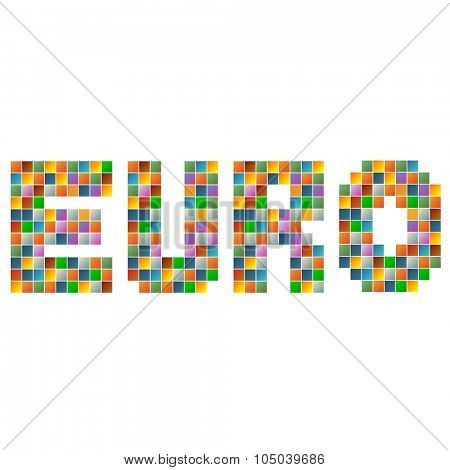 Colorful euro text in vector
