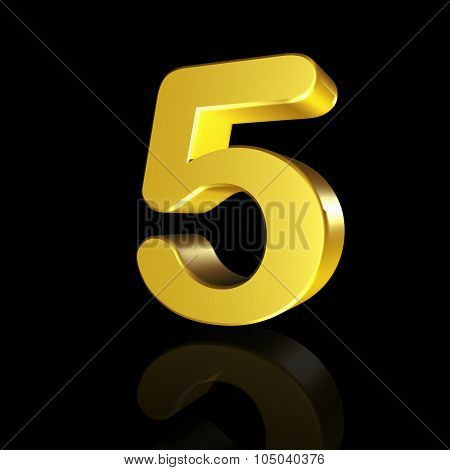 The Number Five With The Effect Of 3D