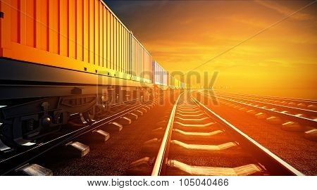 3D Illustration Of Freight Train With Containers On Platforms On Sunset Sky Background