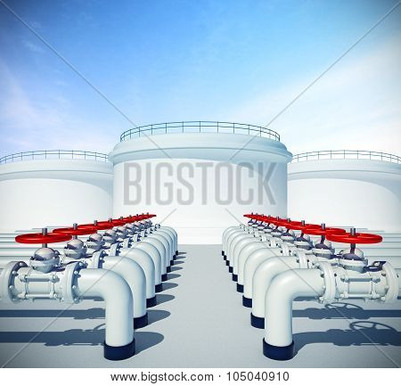 Pipeline With Red Valve. Fuel Or Oil Industrial Storages On Background