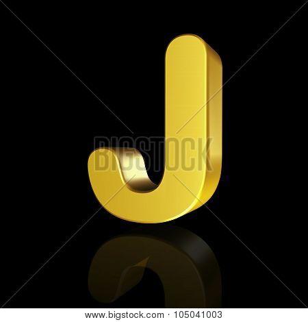 Gold Letter J In 3D