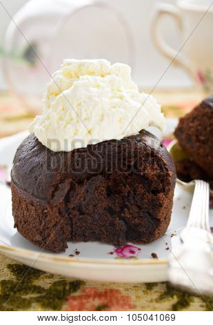 chocolate fondant with whipped cream