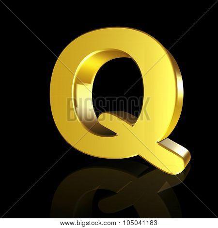 Gold Letter Q In 3D