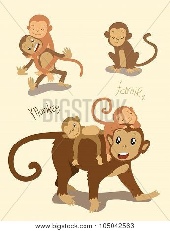 Monkey family. Mom with the cute monkey children