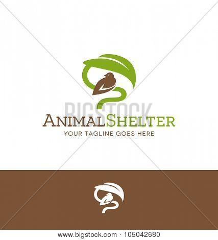 logo design for animal shelter or charitable organization. Bird sheltered under leaf.