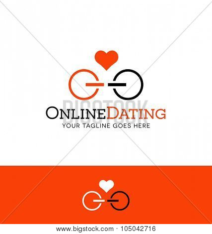 logo design for online dating. power icons facing each other.