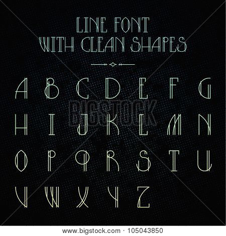 Hipster font with linear letters
