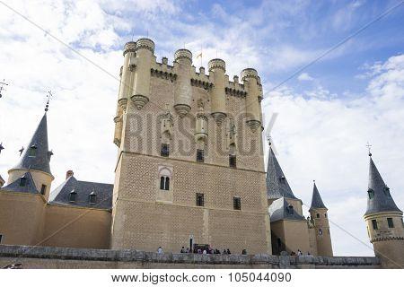 Medieval fortress, alcazar castle city of Segovia, Spain. Old town of Roman origin