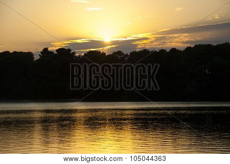 Sunset On The Alimini Lake