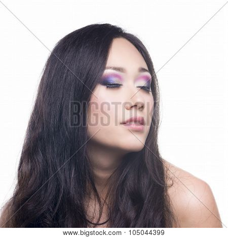 Glamor Portrait Of A Beautiful Brunette With Make-up
