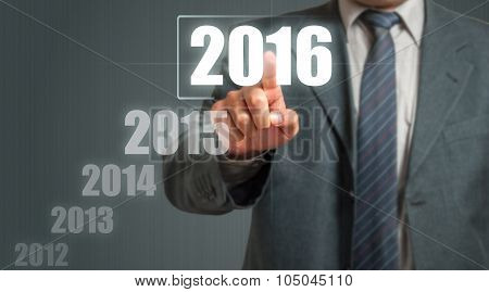Business Man Showing Year 2016