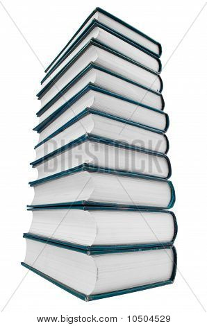 Tower Of Books Isolated On White Background